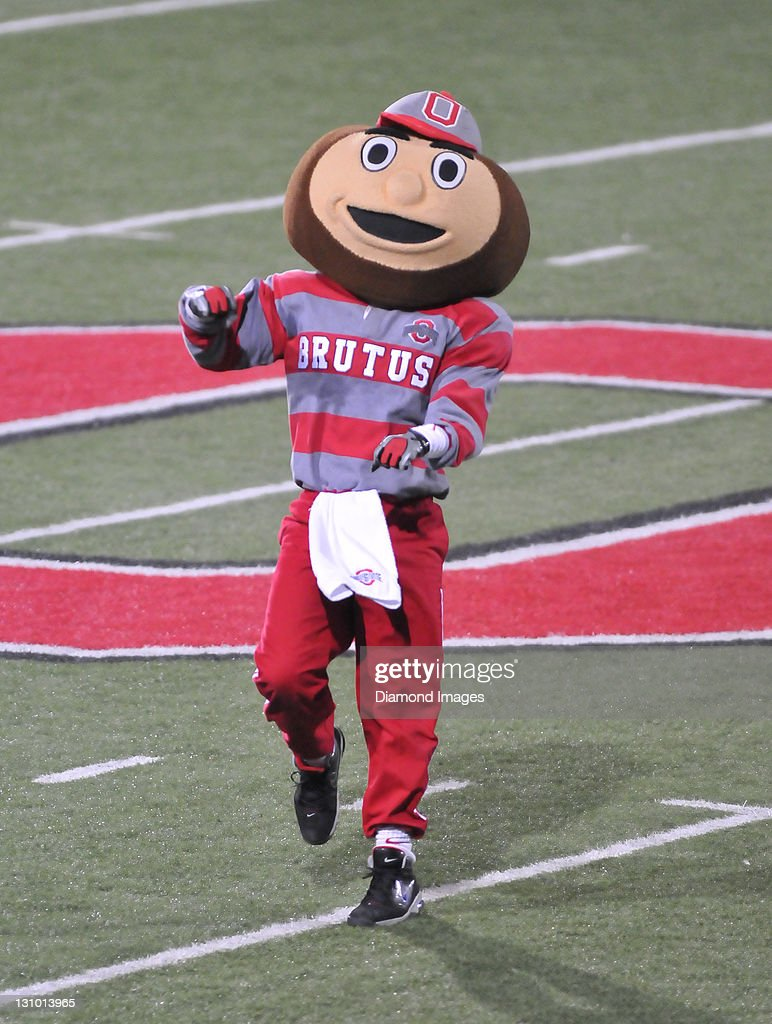 Mascot Brutis the Buckeye of the Ohio State Buckeyes gets the crowd excited before a game between the Ohio State Buckeyes and Wisconsin Badgers at Ohio Stadium in Columbus, Ohio. The Buckeyes won 33-29.