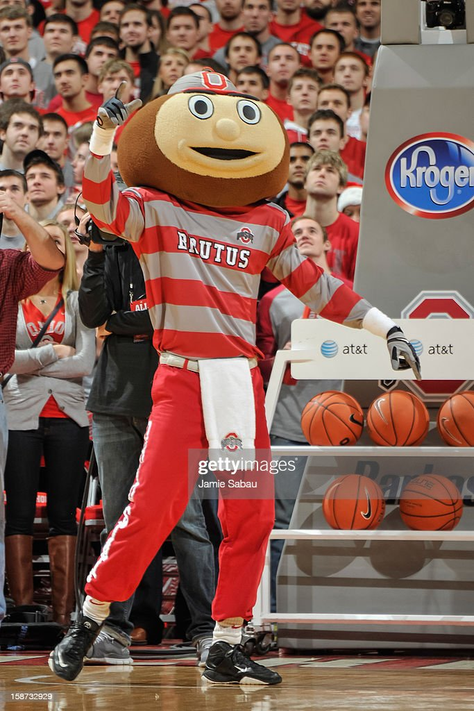 Mascot Brutus Buckeye fires up the crowd before a game between the Ohio State Buckeyes and the Kansas Jayhawks on December 22, 2012 at Value City Arena in Columbus, Ohio.