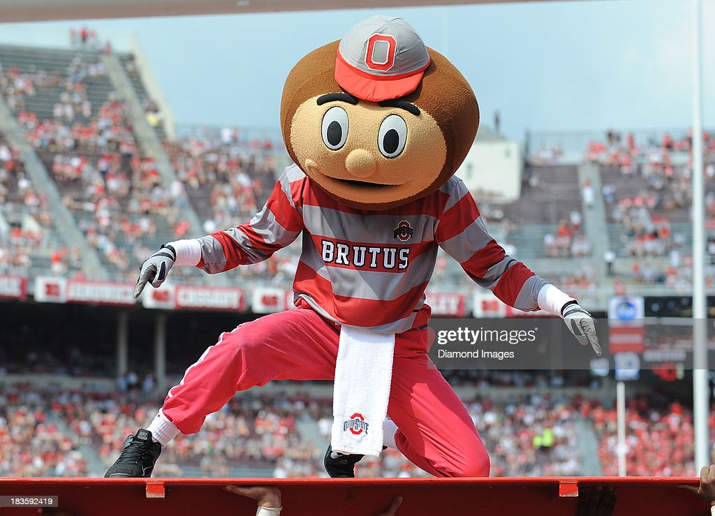 Mascot Brutus the Buckeye celebrates after a Ohio State touchdown during a game against the Buffalo Bulls at Ohio Stadium in Columbus, Ohio. The Ohio State Buckeyes won 40-20.