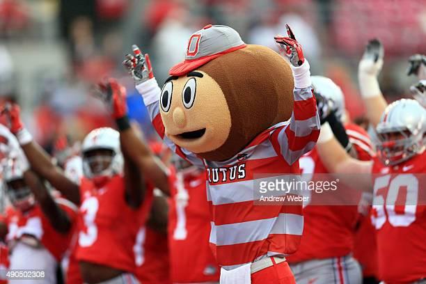 Mascot Brutus the Buckeye of Ohio State Buckeyes against the Northern Illinois Huskies at Ohio Stadium on September 19 2015 in Columbus Ohio