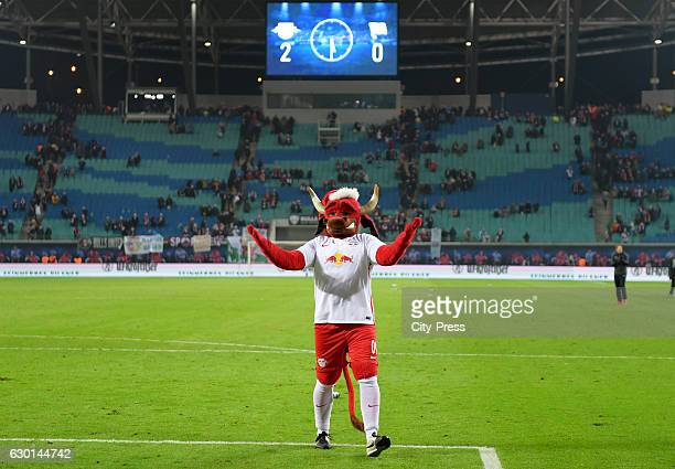 mascot Bulli after the game between RB Leipzig and Hertha BSC on december 17 2016 in Leipzig Germany