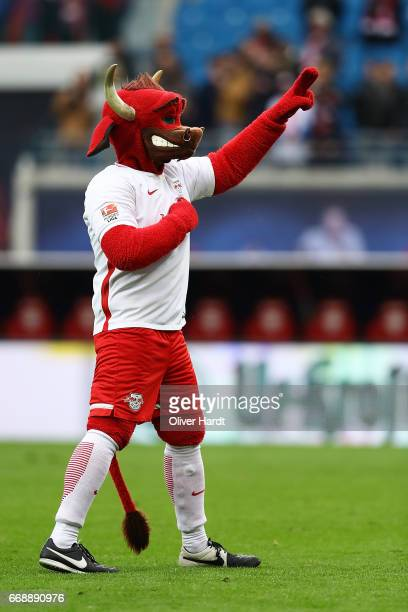 Mascot Bulli of Leipzig after the Bundesliga match between RB Leipzig and SC Freiburg at Red Bull Arena on April 15 2017 in Leipzig Germany