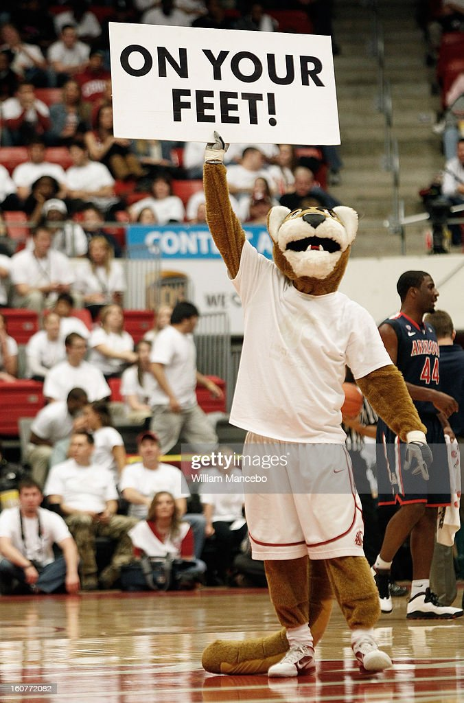 Mascot Butch T. Cougar for the Washington State Cougars rallies fans with a sign during the game against the Arizona Wildcats at Beasley Coliseum on February 2, 2013 in Pullman, Washington.