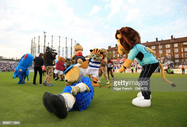 Mascot choas during the mascot derby held during the interval Surrey versus Middlesex