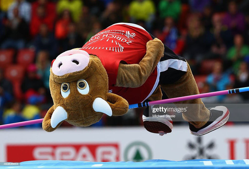 Mascot 'Cooly' attempts the high jump during day four of the 22nd European Athletics Championships at Stadium Letzigrund on August 15, 2014 in Zurich, Switzerland.
