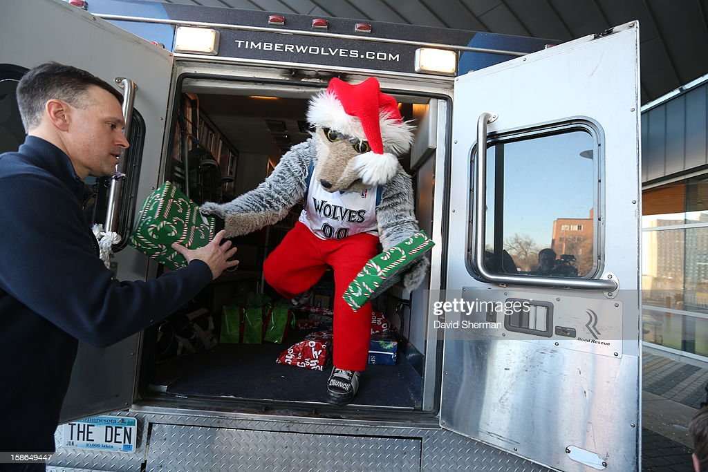 Mascot Crunch unloads holiday gifts collected through the Minnesota Timberwolves Fastbreak Foundation Toy Drive for distribution to patients and families on December 21, 2012 at the University of Minnesota Amplatz Children's Hospital in Minneapolis, Minnesota.