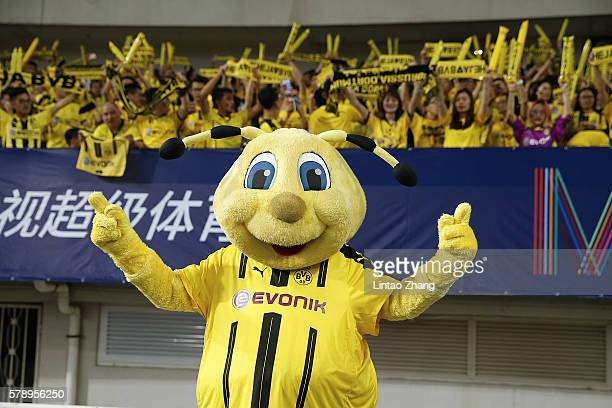 Mascot Emma in front of the chinese fans of Borussia Dortmund during the International Champions Cup match between Manchester United and Borussia...