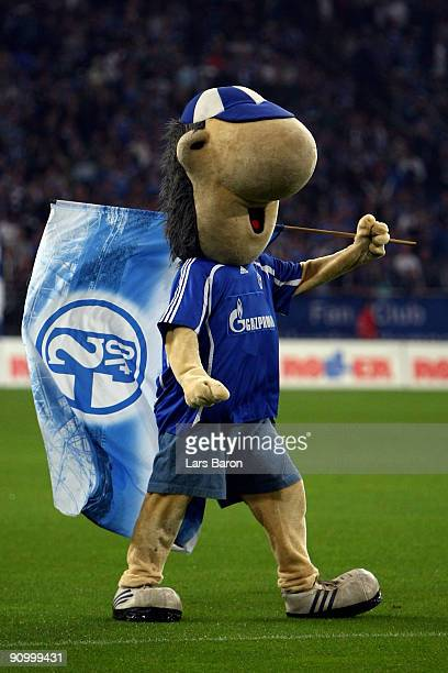 Mascot Erwin of Schalke is seen during the Bundesliga match between FC Schalke 04 and VfL Wolfsburg at Veltins Arena on September 18 2009 in...