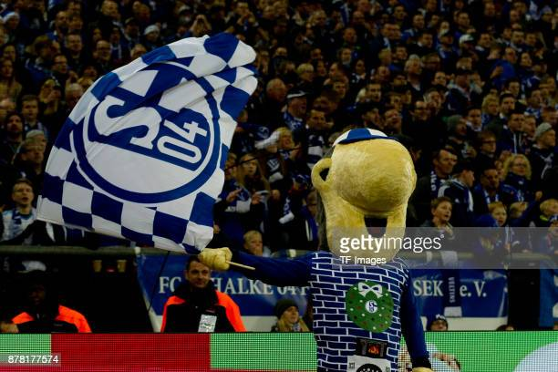 Mascot Erwin of Schalke looks on during the Bundesliga match between FC Schalke 04 and Hamburger SV at VeltinsArena on November 19 2017 in...