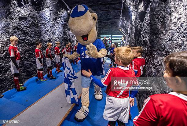 Mascot Erwin of Schalke shake hands with the kids in the player tunnel prior to the Bundesliga match between FC Schalke 04 and SV Darmstadt 98 at...