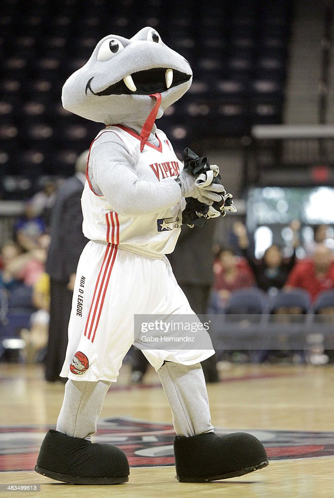 Mascot Fang of the Rio Grande Valley Vipers excites the crowd as they play against the Iowa Energy on April 8, 2014 during game one first round of the 2014 NBA-Development League playoffs at the State Farm Arena in Hidalgo, Texas.