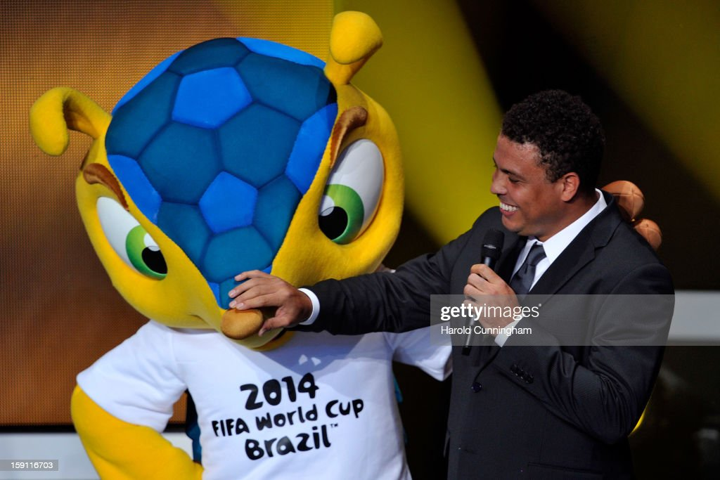 Mascot Fuleco of FIFA World Cup 2014 in Brazil and Ronaldo during the FIFA Ballon d'Or Gala 2013 at Congress House on January 7, 2013 in Zurich, Switzerland.