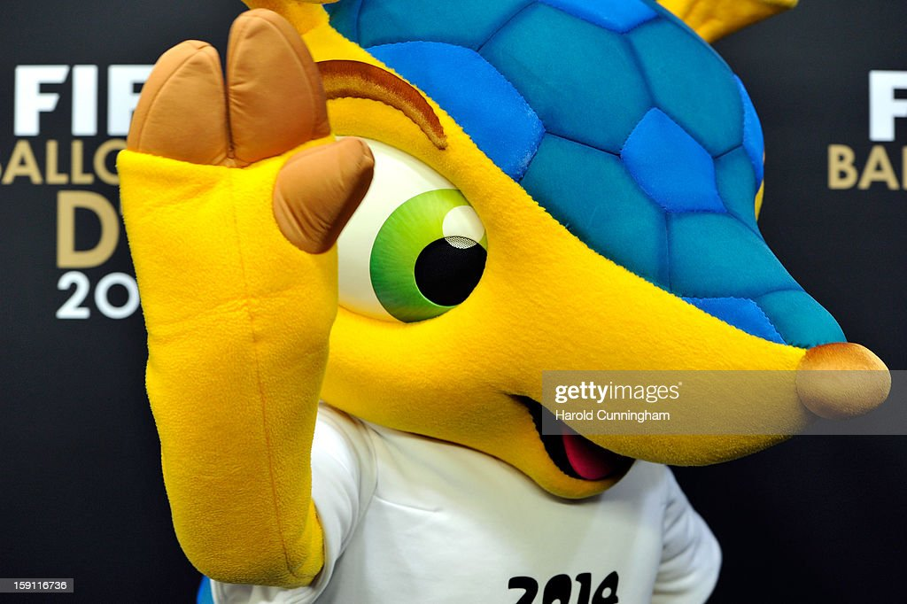 Mascot Fuleco of FIFA World Cup 2014 in Brazil poses during the red carpet arrivals of the FIFA Ballon d'Or Gala 2013 at Congress House on January 7, 2013 in Zurich, Switzerland.