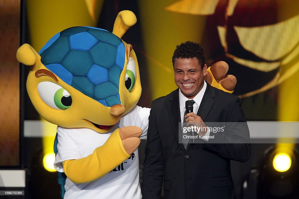 Mascot Fuleco of FIFA World Cup 2014 in Brazil poses with Ronaldo during the FIFA Ballon d'Or Gala 2013 at Congress House on January 07, 2013 in Zurich, Switzerland.