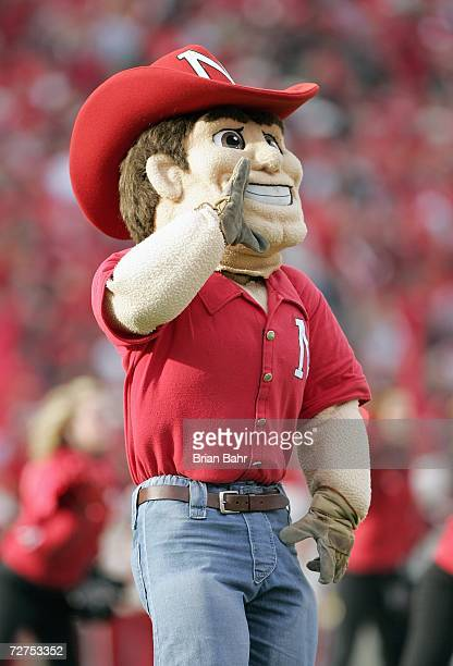 Mascot Herbie Husker of the Nebraska Cornhuskers yells during the game against the Colorado Buffaloes on November 24 2006 at Memorial Stadium in...