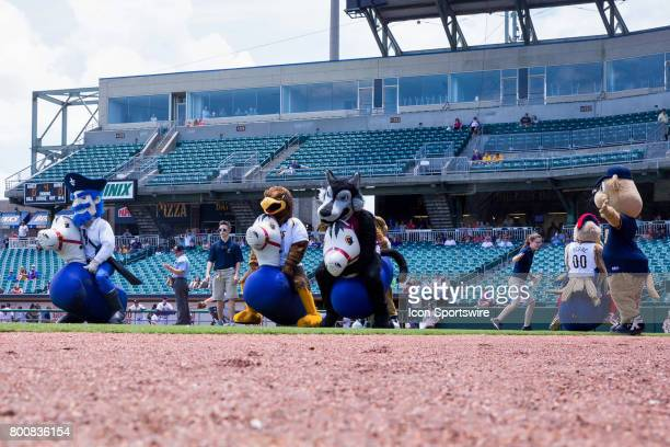 Mascot horse racing between innings during the minor league game between the Colorado Springs Sky Sox and the New Orleans Baby Cakes on June 25 2017...
