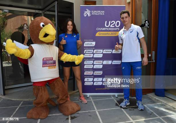 Mascot Leopoldo Elisa Di Lazzaro and Filippo Tortu of Italy attend the press conference during European Athletics U20 Championships on July 19 2017...