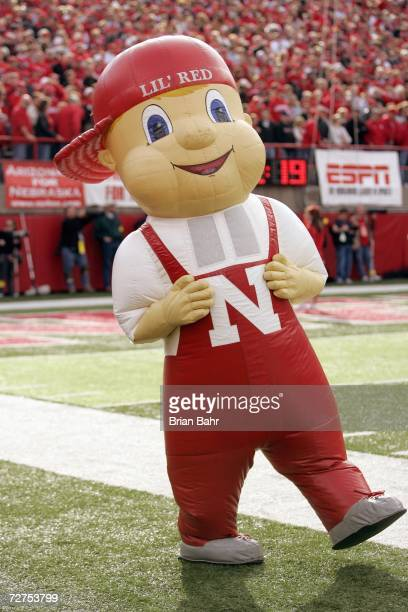 Mascot Lil Red of the Nebraska Cornhuskers walks on the sidelines during the game against the Colorado Buffaloes on November 24 2006 at Memorial...