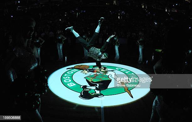 Mascot Lucky of the Boston Celtics amps up the crowd before the game against the Charlotte Bobcats on January 14 2013 at the TD Garden in Boston...