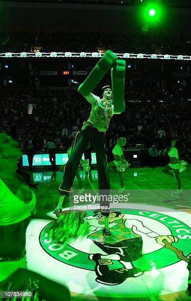 Mascot Lucky of the Boston Celtics performs during the pre game against the New Orleans Hornets on December 31 2010 at the TD Garden in Boston...