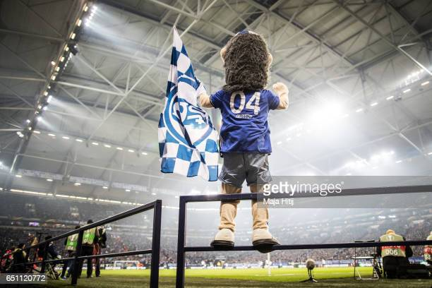 Mascot of Schalke Erwin is seen during the UEFA Europa League Round of 16 first leg match between FC Schalke 04 and Borussia Moenchengladbach at...