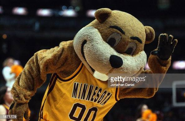 Mascot of the University Minnesota Golden Gophers entertains fans during the Big Ten Men's Basketball Tournament game against the Northwestern...