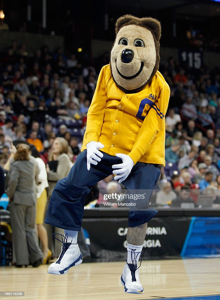 Mascot Oski the Bear of the California Golden Bears performs during the game against the LSU Lady Tigers in the NCAA Division I Women's Basketball Regional Championship at Spokane Arena on March 30, 2013 in Spokane, Washington.