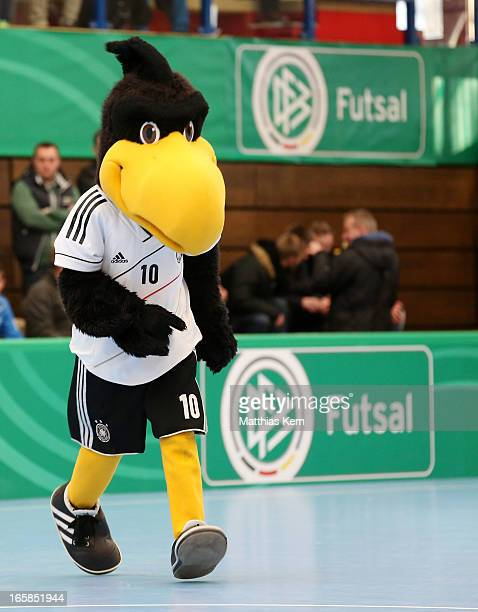 Mascot Paule of the DFB looks on during the DFB Futsal Cup final match between Hamburg Panthers and UFC Muenster at Sporthalle Wandsbek on April 6...