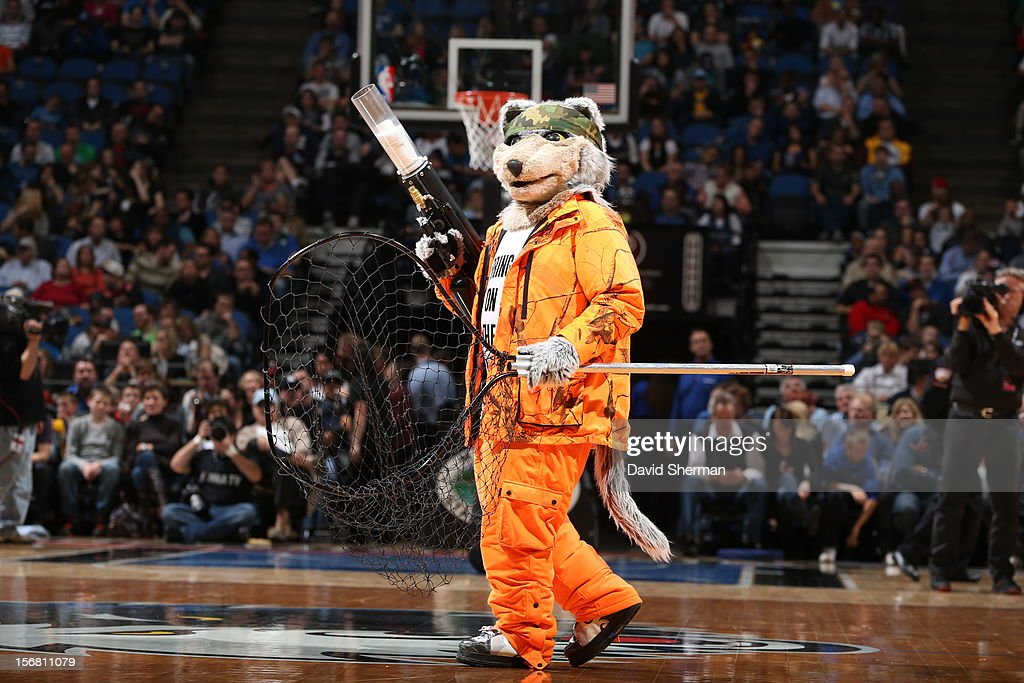 A mascot performs during the game between the Minnesota Timberwolves and the Denver Nuggets on November 21, 2012 at Target Center in Minneapolis, Minnesota.