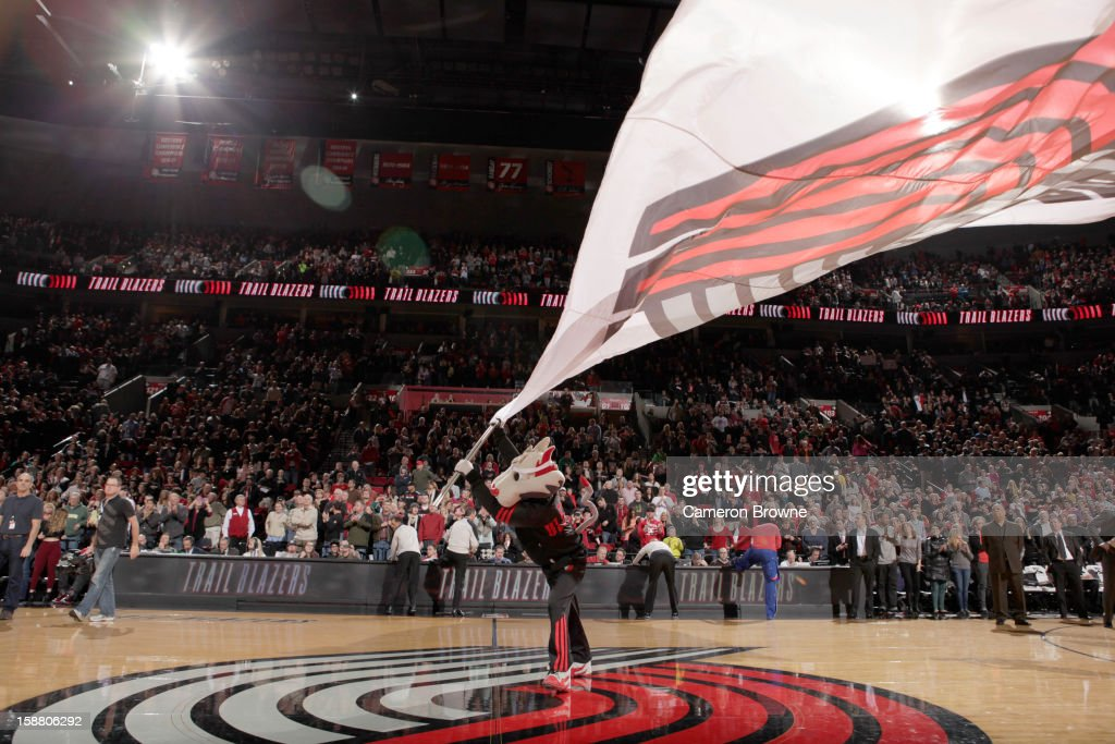A mascot performs during the game between the Philadelphia 76ers and the Portland Trail Blazers on December 29, 2012 at the Rose Garden Arena in Portland, Oregon.
