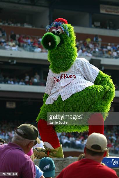 Mascot Phillie Phanatic of the Philadelphia Phillies entertains the fans as the Philadelphia Phillies take on the Montreal Expos at Citizens Bank...