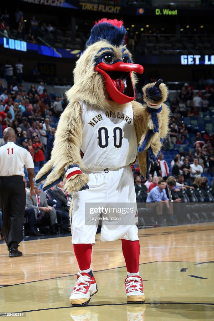 Mascot Pierre the Pelican of the New Orleans Pelicans performs against the Indiana Pacers during an NBA game on October 30 2013 at the New Orleans...