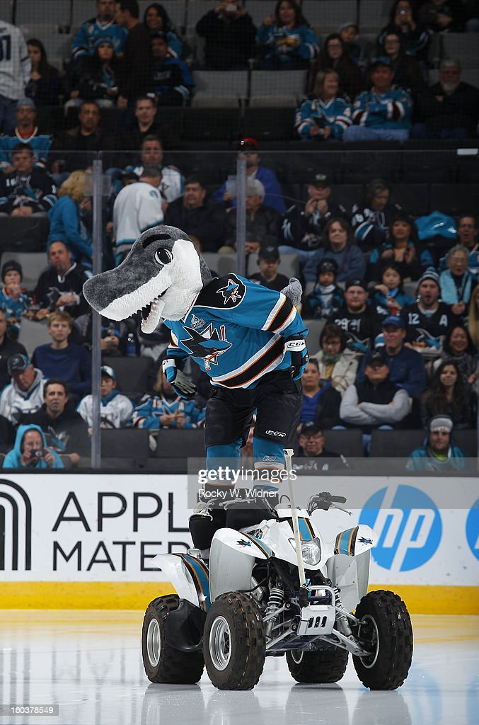 Mascot S.J. Sharkie of the San Jose Sharks entertains the crowd before the game against the Vancouver Canucks at the HP Pavilion on January 27, 2013 in San Jose, California. The Sharks defeated the Canucks 4-1.