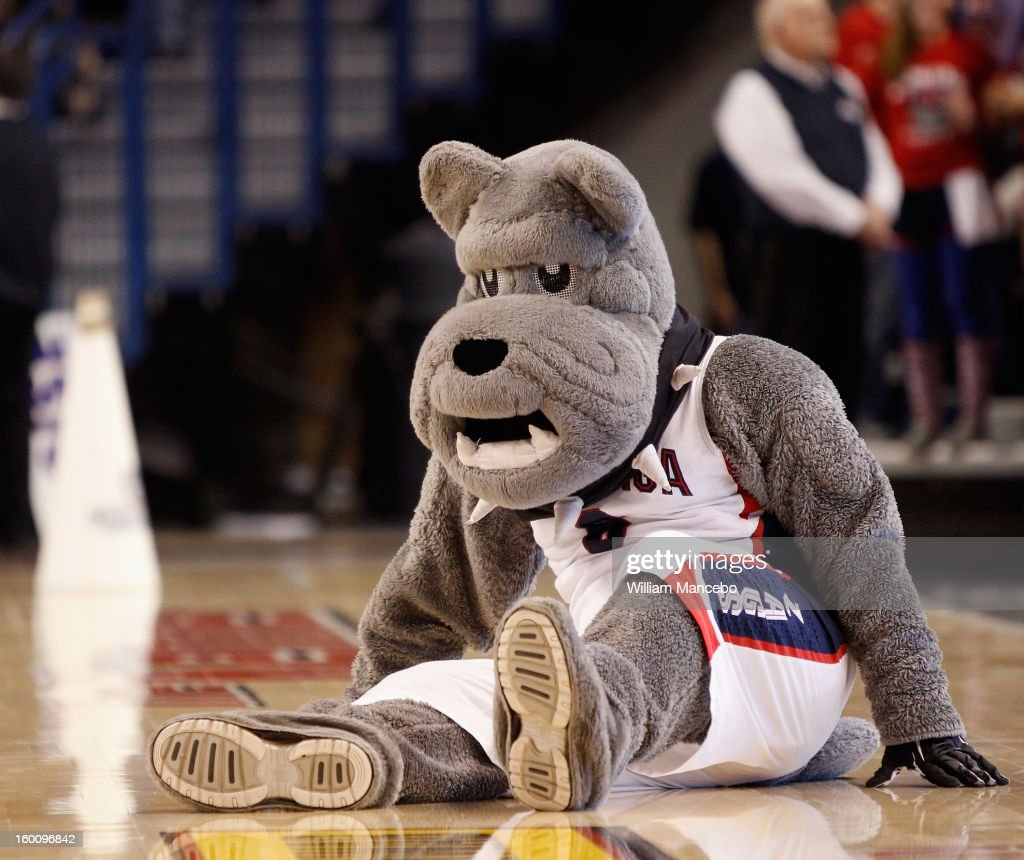 Mascot Spike the Bulldog for the Gonzaga Bulldogs performs during the game against the BYU Cougars at McCarthey Athletic Center on January 24, 2013 in Spokane, Washington.