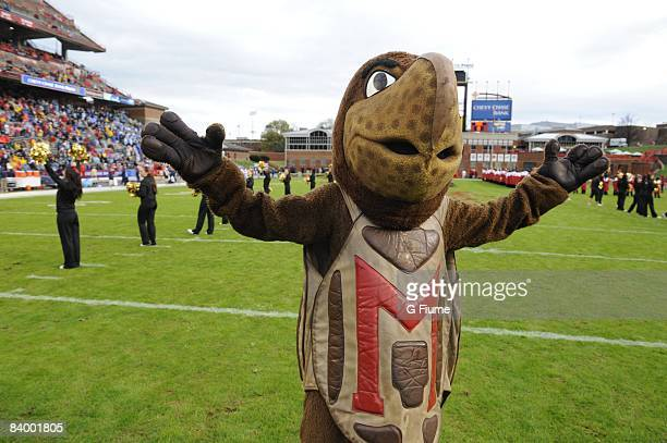 Mascot Testudo runs on the field before the game between the Maryland Terrapins and the North Carolina Tar Heels November 15 2008 at Byrd Stadium in...