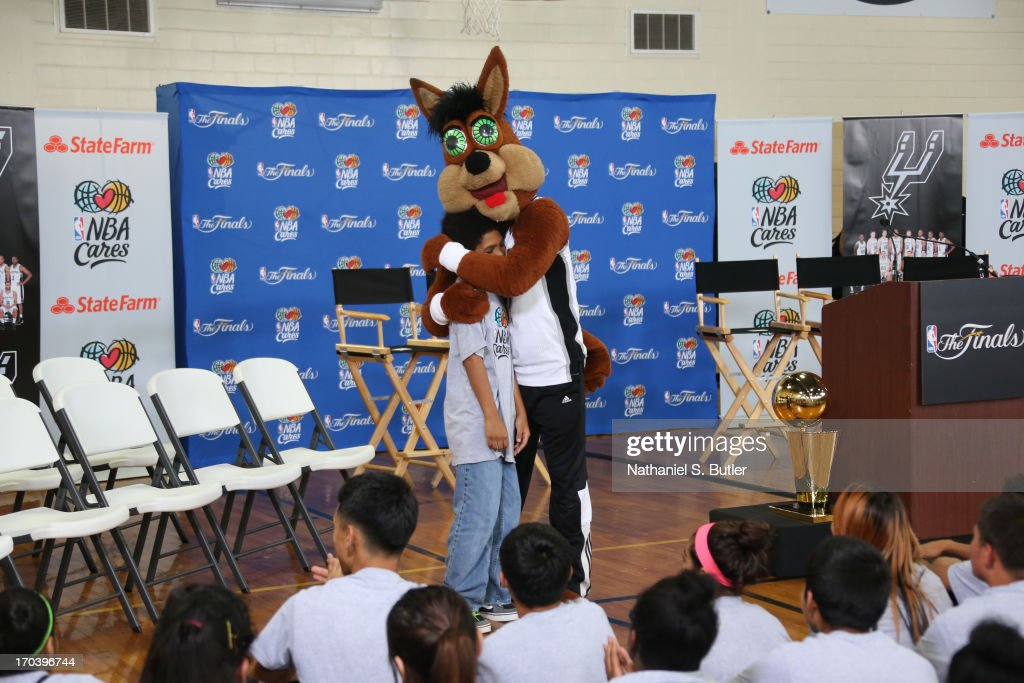 Mascot The Coyote of the San Antonio Spurs at the 2013 NBA Cares Legacy Project as part of the 2013 NBA Finals on June 7, 2013 at the Wheatley Middle School in San Antonio, Texas.