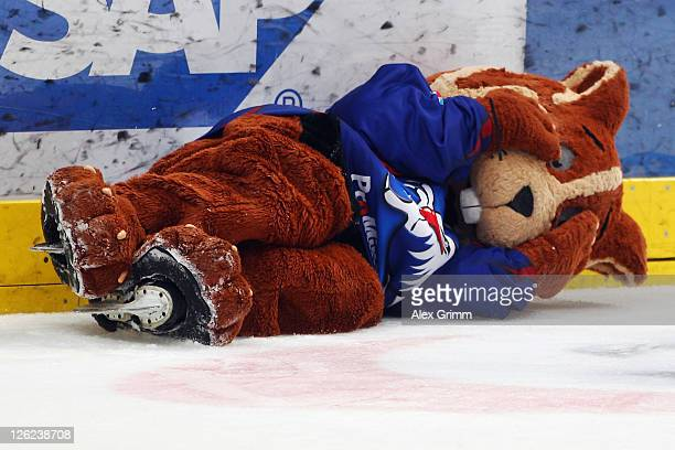 Mascot 'Udo' lies on the ice after the DEL match between Adler Mannheim and Eisbaeren Berlin at SAP Arena on September 23 2011 in Mannheim Germany