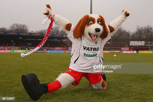 Mascot Underdog of Oberhausen pose prior to the Second Bundesliga match between RW Oberhausen and FC Augsburg at the Niederrhein Stadium on January...