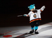 Mascot Urmel of DEB is seen prior to the international friendly icehockey match between Germany and Denmark at TUI Arena on April 22 2012 in Hanover...