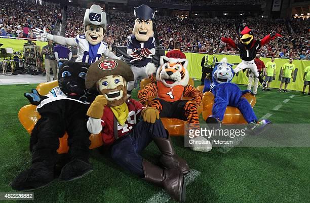 NFL mascots gather on the field during the 2015 Pro Bowl at University of Phoenix Stadium on January 25 2015 in Glendale Arizona