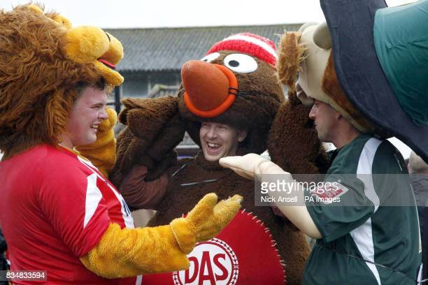 Mascots Gercian the lion of Exeter City FC Scrumpy of Bristol City FC and Pilgrim Pete of Plymouth Argyle talk post race tatics after the 10th annual...