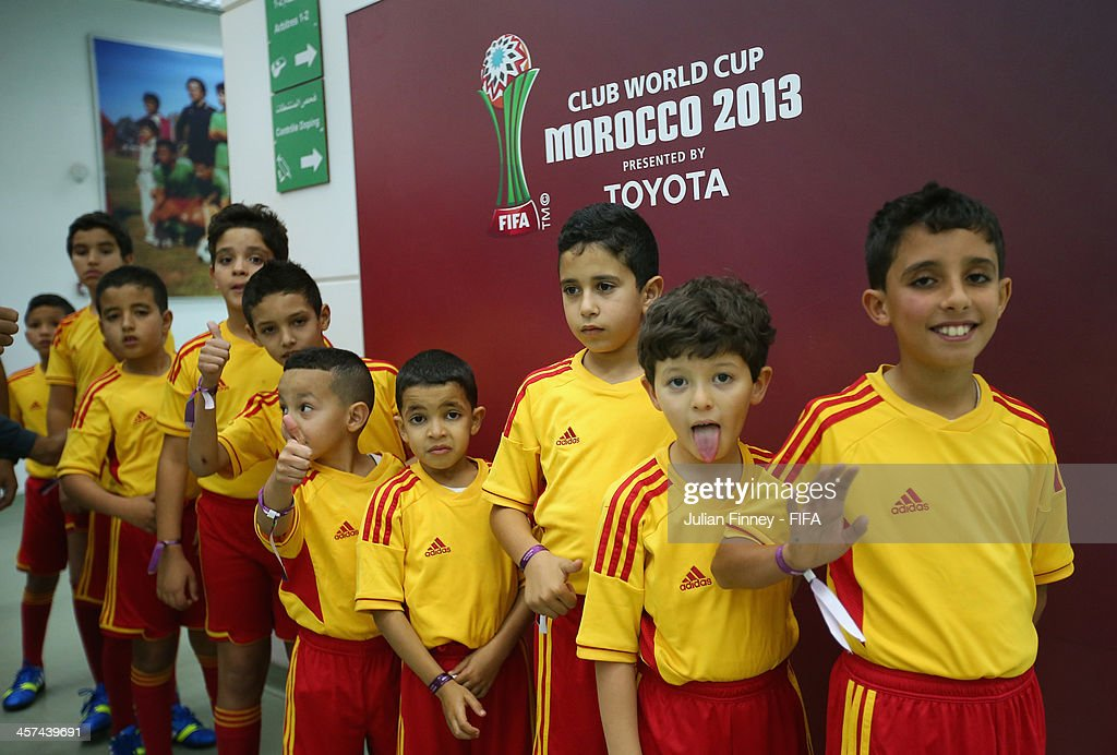 Mascots line up before the FIFA Club World Cup Semi Final match between Guangzhou Evergrande FC and Bayern Muenchen at the Agadir Stadium on December 17, 2013 in Agadir, Morocco.