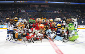 NHL mascots pose for a group photo during the mascot showdown as part of the 2015 NHL AllStar Weekend at Nationwide Arena on January 24 2015 in...