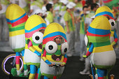 Mascots pose for photos after the closing ceremony for the Nanjing 2014 Summer Youth Olympic Games at the Nanjing Olympic Sports Centre on August 28...