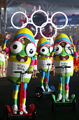 Mascots wave during the opening ceremony for the Nanjing 2014 Summer Youth Olympic Games at the Nanjing Olympic Sports Centre on August 16 2014 in...
