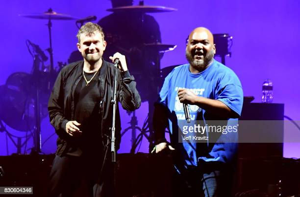 Maseo of De La Soul performs with Damon Albarn of Gorillaz on the Lands End stage during the 2017 Outside Lands Music And Arts Festival at Golden...