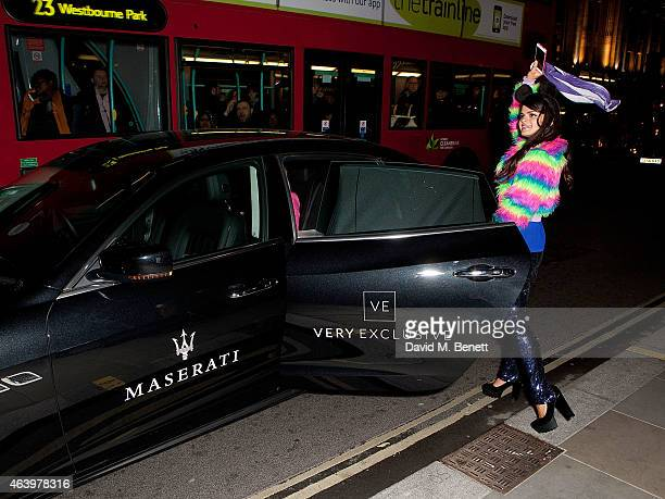 Maserati chauffeurs Bip Ling to Veryexclusivecouk Launch Party at Watches of Switzerland on February 20 2015 in London England