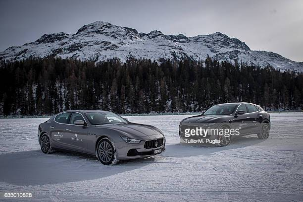 Maserati Ghibli and a Maserati Levante are photographed during Snow Polo World Cup St Morits 2017 on January 28 2017 in St Moritz Switzerland