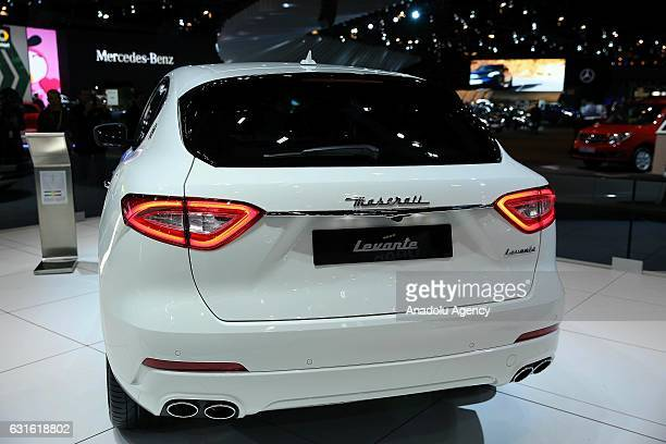 Maserati Levante is displayed during the Brussels Motor Show 2017 at the Brussels Expo in Brussels Belgium on January 13 2017