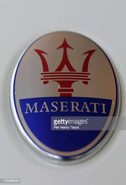 Maserati logo is displayed during the press conference of Transpac 2013 with Maserati and Zegna Sport partnerhip on July 1 2013 in Milan Italy
